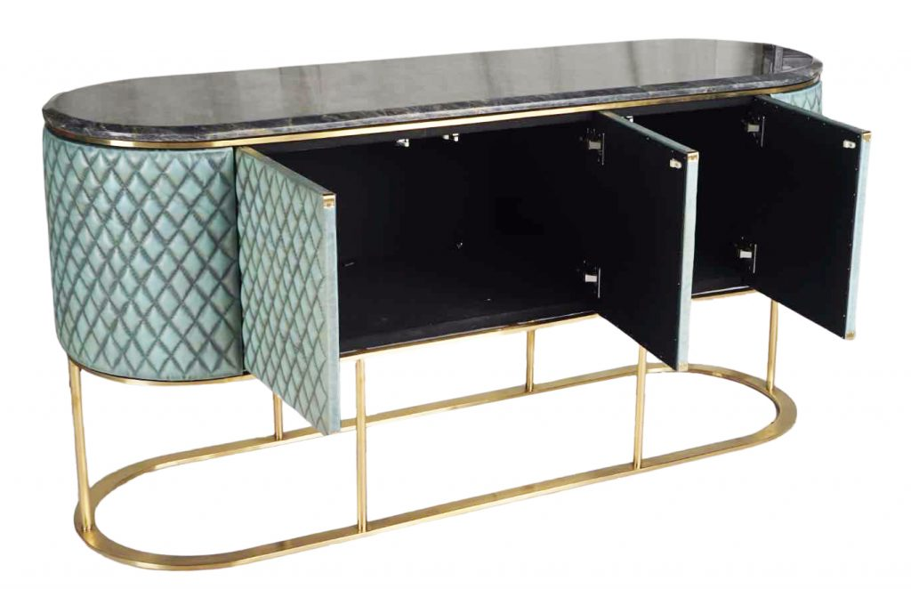 ROOBBA Mimi Sideboard Blue Leather and Marble Inside 2