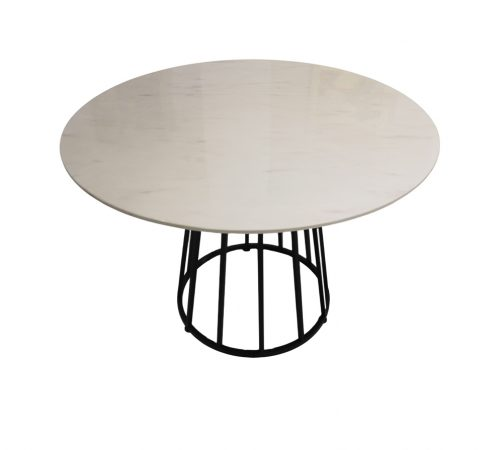 Darcie White Faux Marble & Black Metal Round Dining Table ROOBBA
