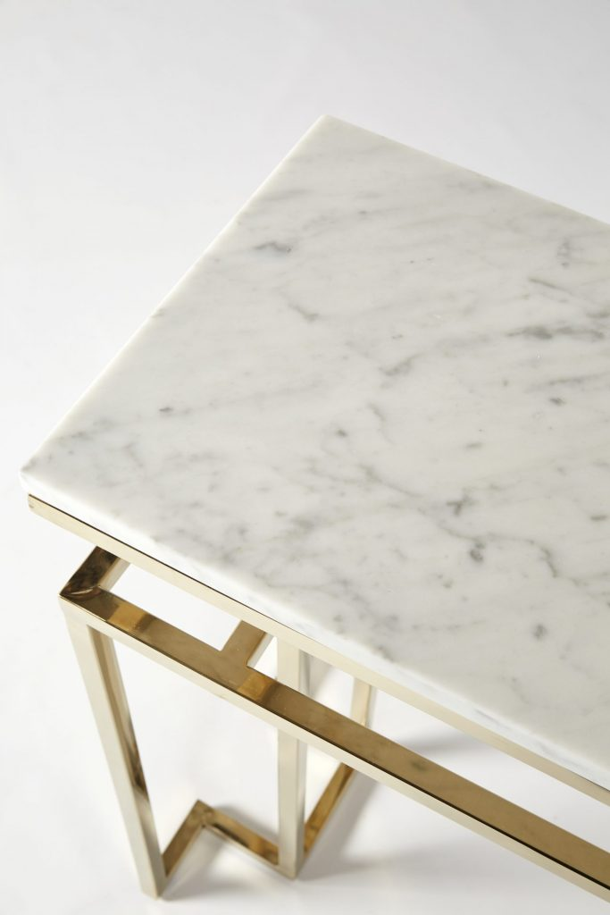 ROOBBA Elane Gold Marble Console Table
