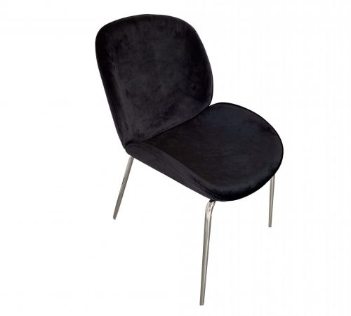 ROOBBA Kathline Dining chair Black Velvet Silver Metal Legs Top