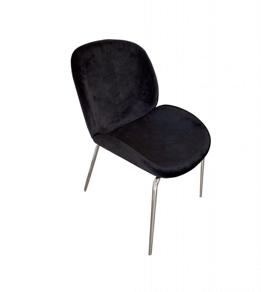 ROOBBA Kathline Dining chair Black Velvet Silver Metal Legs Top