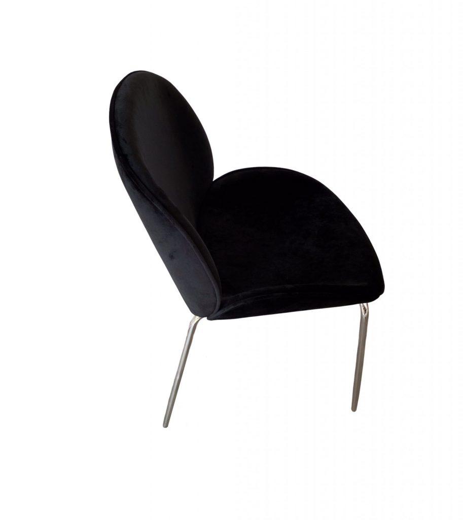 ROOBBA Kathline Dining chair Black Velvet Silver Metal Legs Side