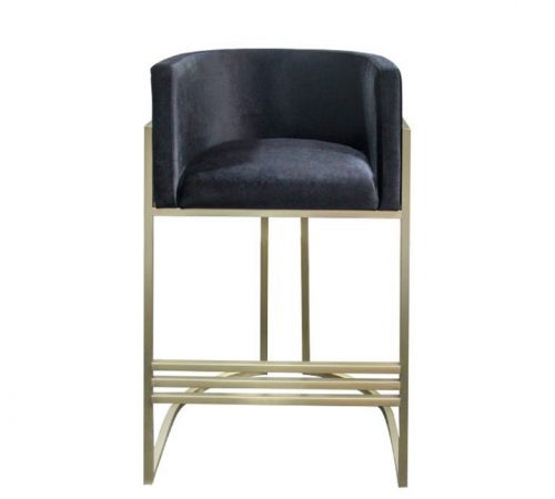 ROOBBA Leo Bar Stool Front Black Velvet Gold