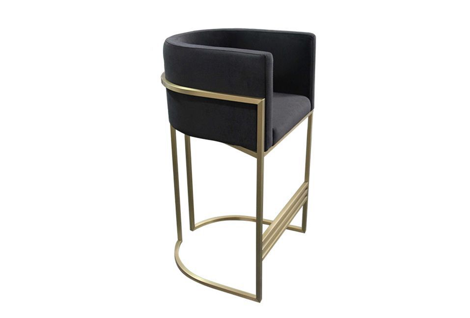 ROOBBA Leo Bar Stool Side Black Velvet Gold