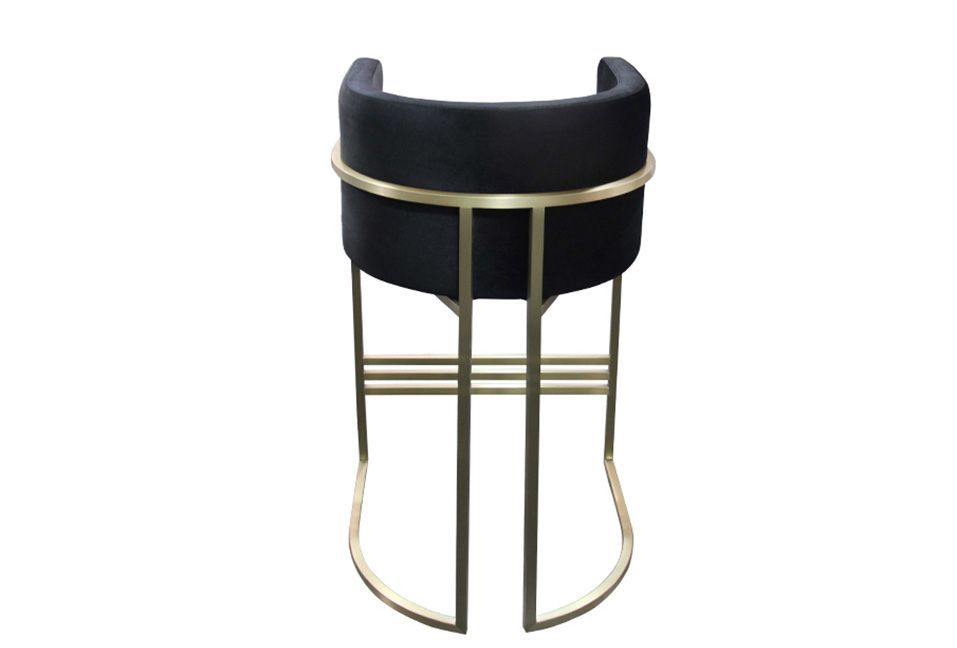 ROOBBA Leo Bar Stool Back Black Velvet Gold