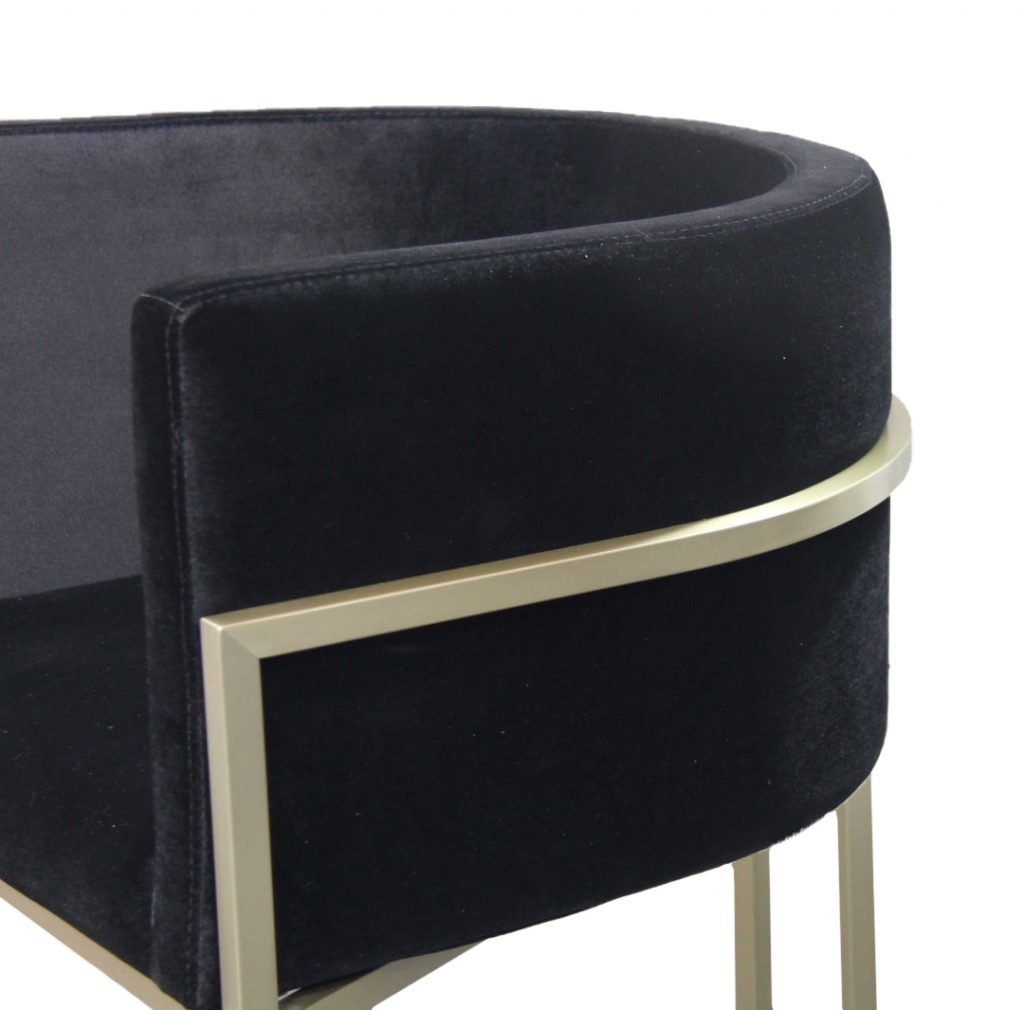 ROOBBA Leo Bar Stool Close Up Side Black Velvet Gold