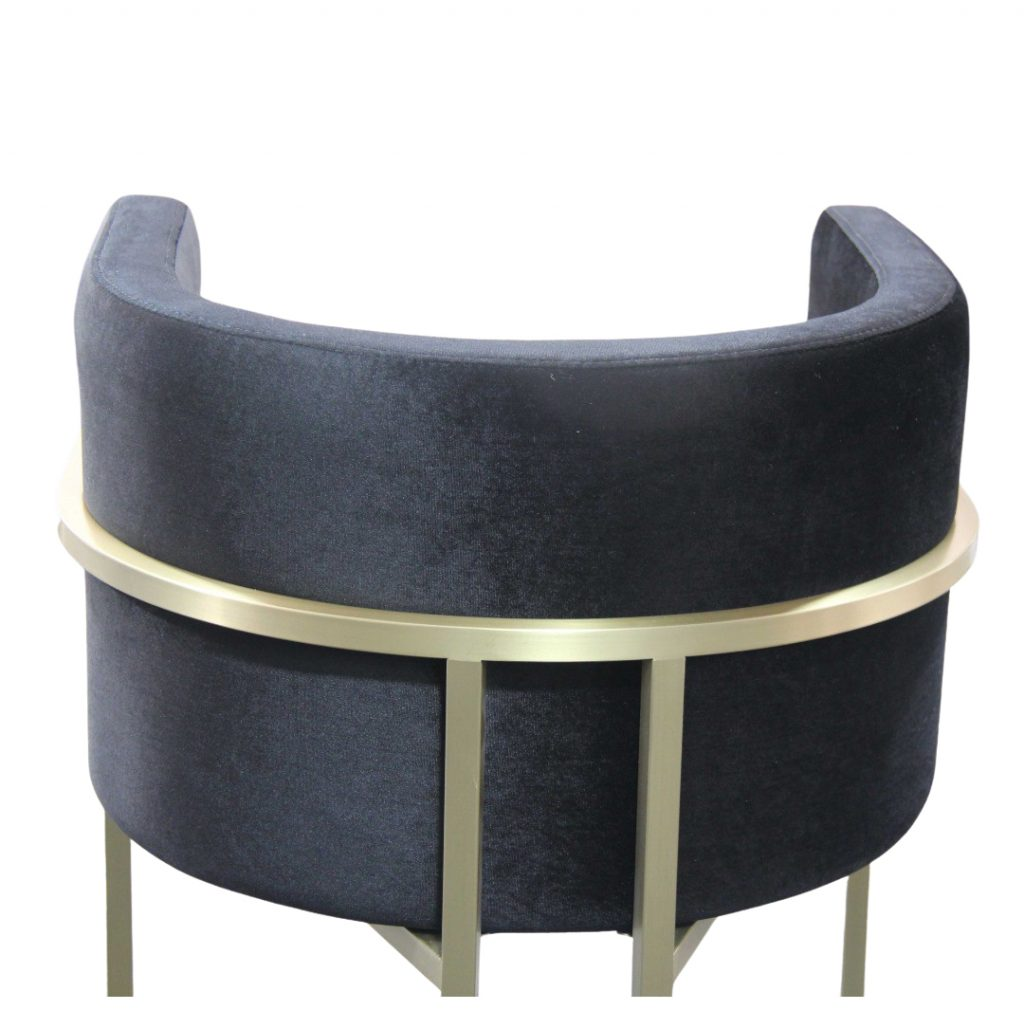 ROOBBA Leo Bar Stool Back Close Up Black Velvet Gold