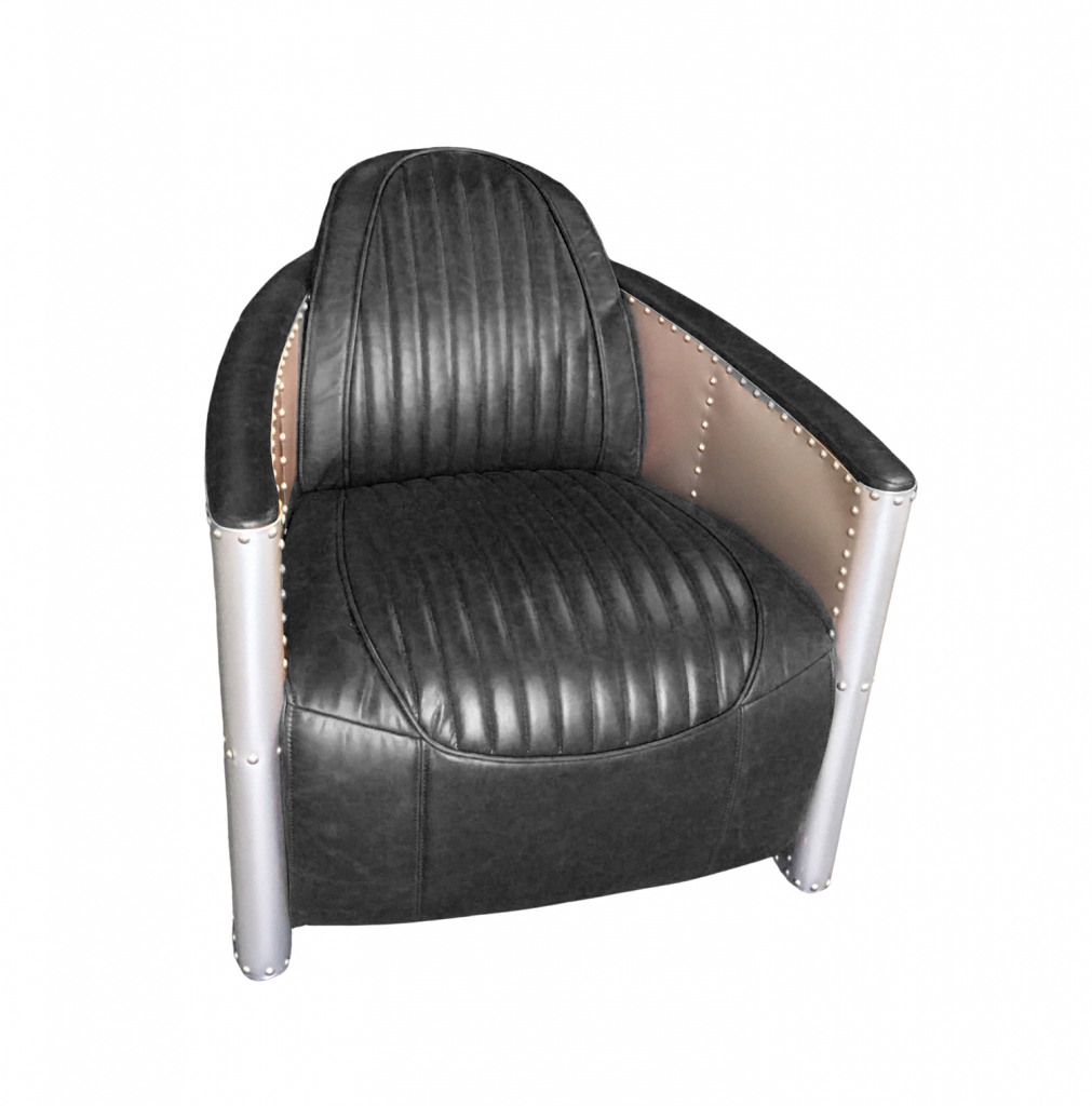 Teddy Vintage Black Leather Armchair Front