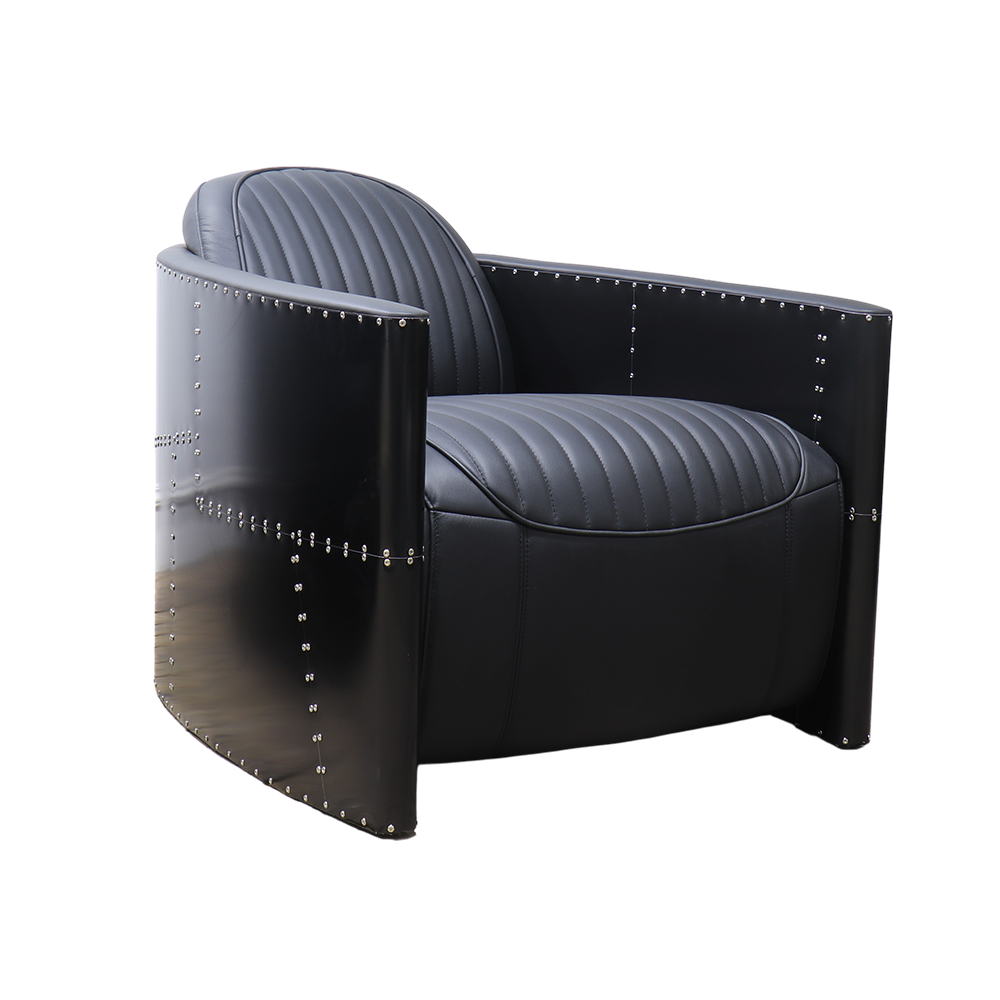Todd Vintage Black Leather Armchair Side