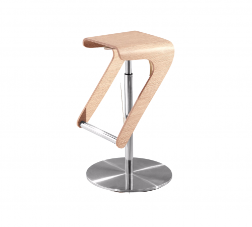 Tyson Beige Wood & Silver Metal Bar Stool ROOBBA