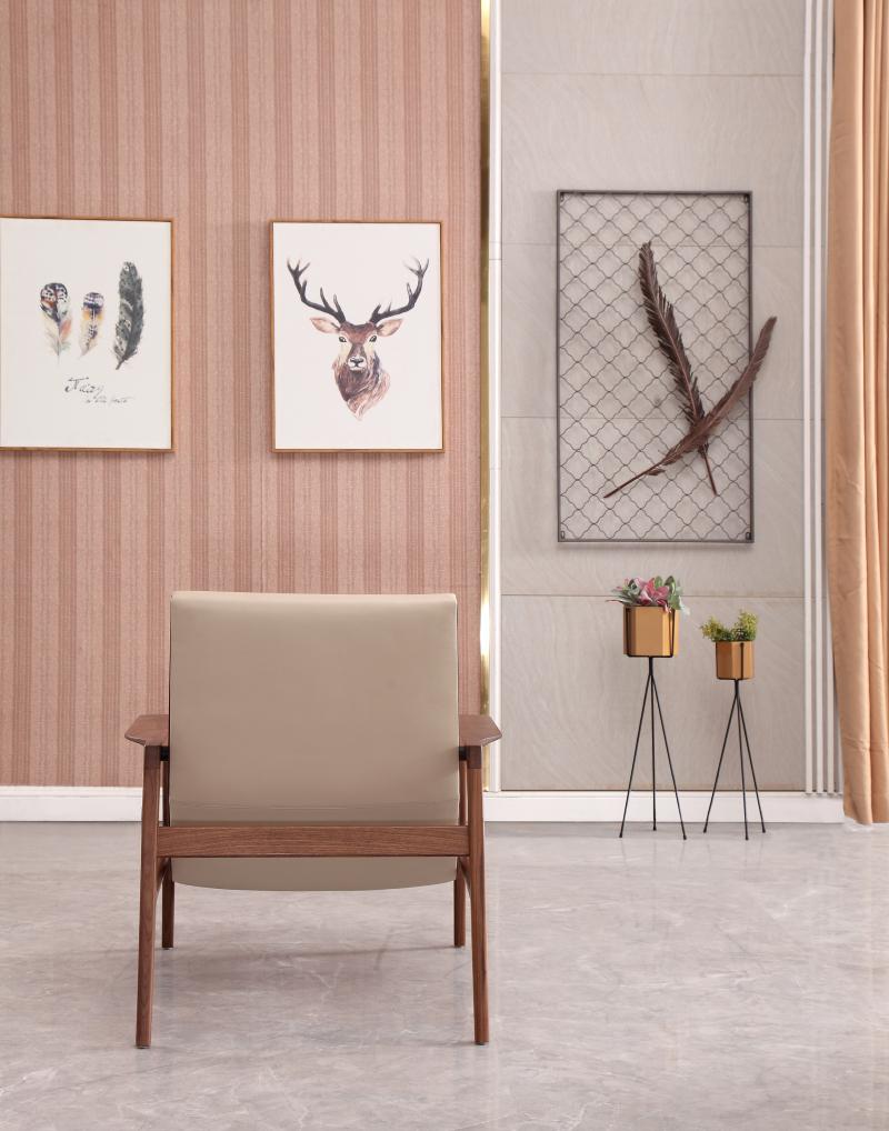Rafael Beige Brown Wood Scandinavian Armchair ROOBBA