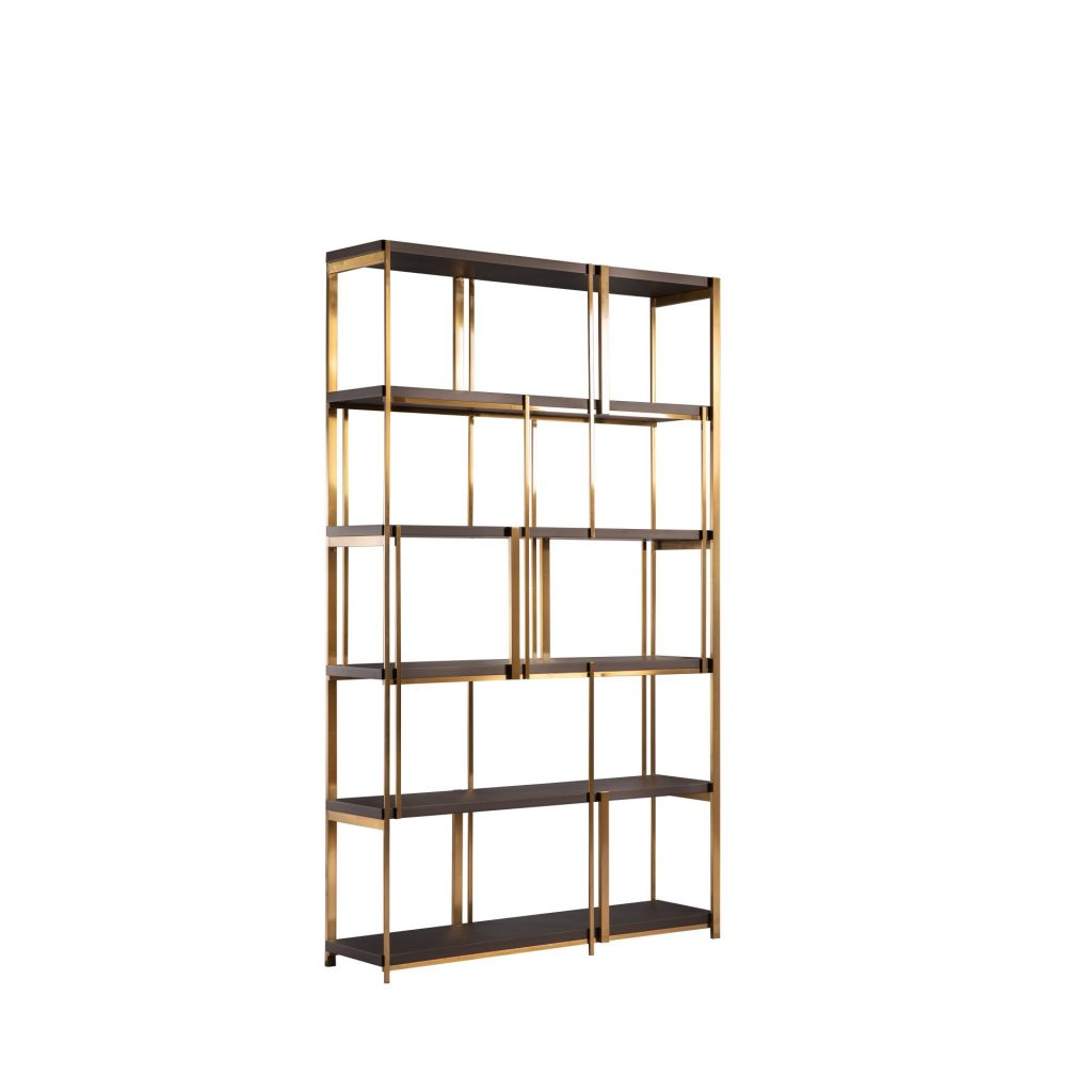 Vanessa Gold Metal & Brown Wood Shelves ROOBBA
