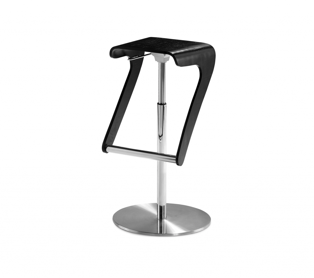Tyson Black Wood & Silver Metal Bar Stool ROOBBA