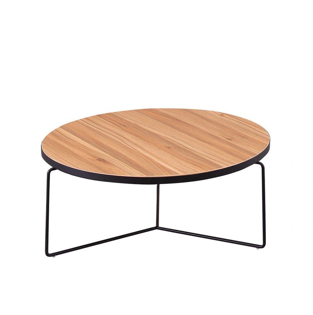 Jaylen Wood & Black Metal Coffee Table ROOBBA