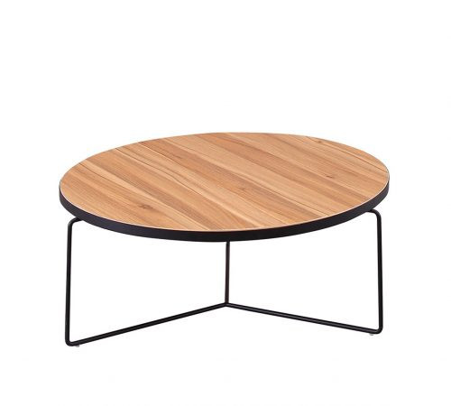 Jaylen Wood & Black Metal Coffee Table ROOBBA