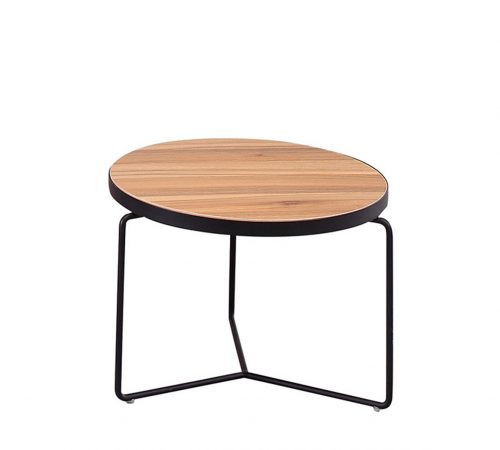 Brown Wood & Black Metal Coffee SideTable