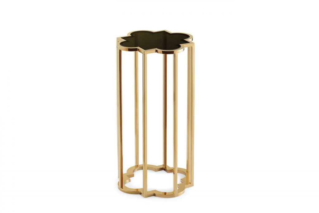 Ava Gold Metal & black Glass Side Table ROOBBA