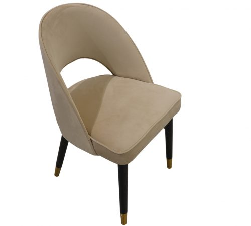 Colby Beige Velvet & Black Wood Dining Chair ROOBBA