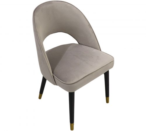 Colby Grey Velvet & Black Wood Dining Chair ROOBBA