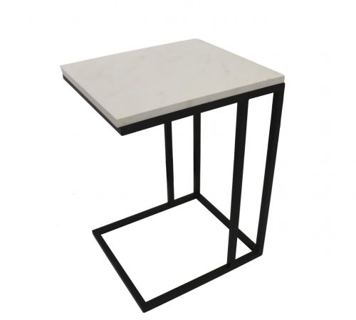 Mia White Faux Marble & Black Metal Side Table ROOBBA