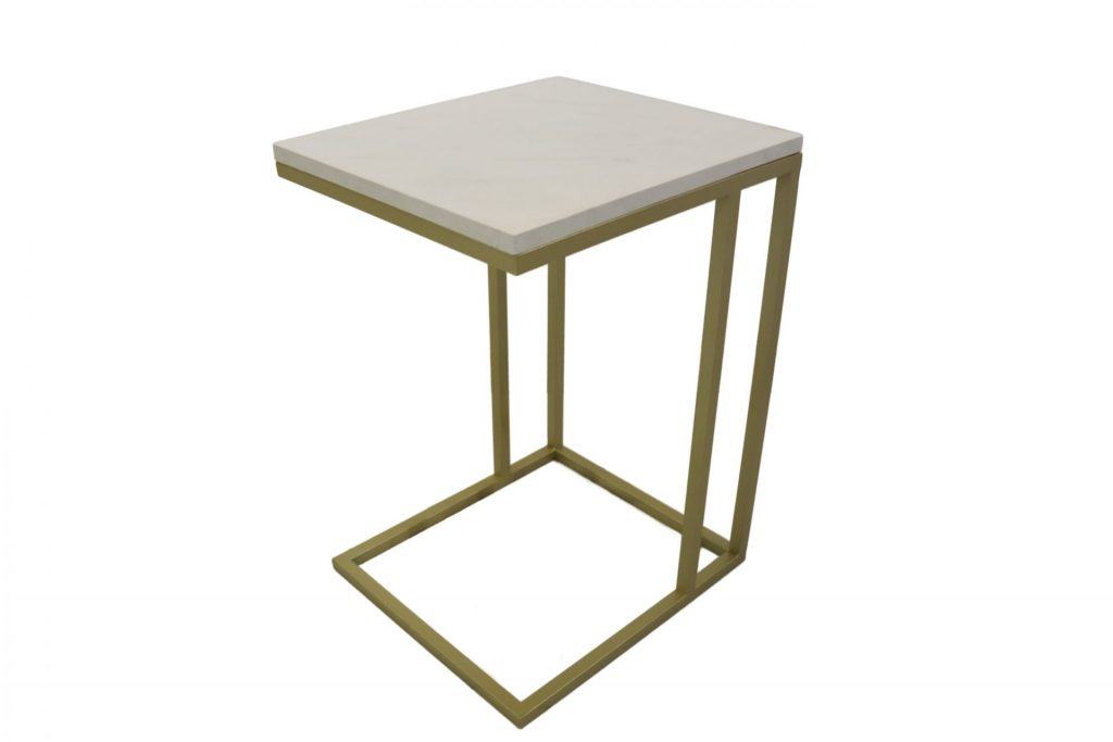 Mia White Faux Marble & Gold Metal Side Table ROOBBA