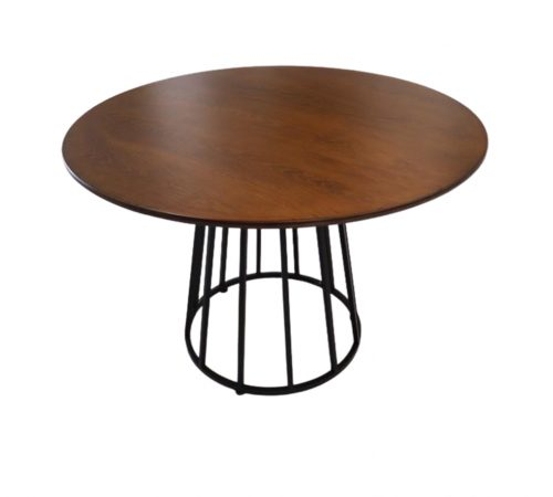 Darcie Brown Wood & Black Metal Round Dining Table ROOBBA