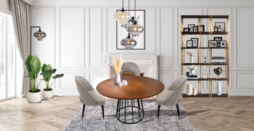 ROOBBA Modern Wood Panelled Dining Room Colby Darcie Vanessa