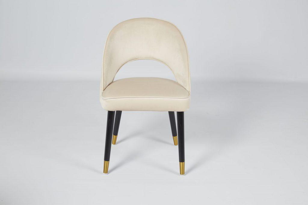 Colby Beige Velvet & Black Wood Dining Chair ROOBBA