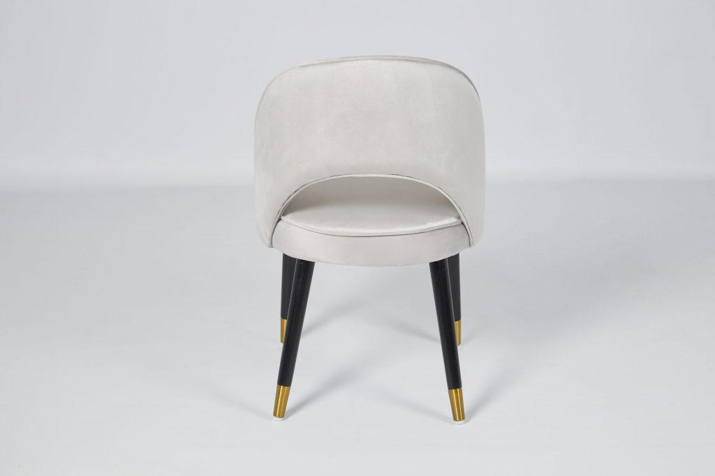 Colby Grey Velvet & Black Wood Dining Chair ROOBBA
