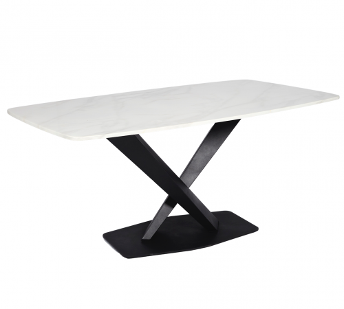 Faux Marble & Black Metal Modern Rectangle Dining Table ROOBBA