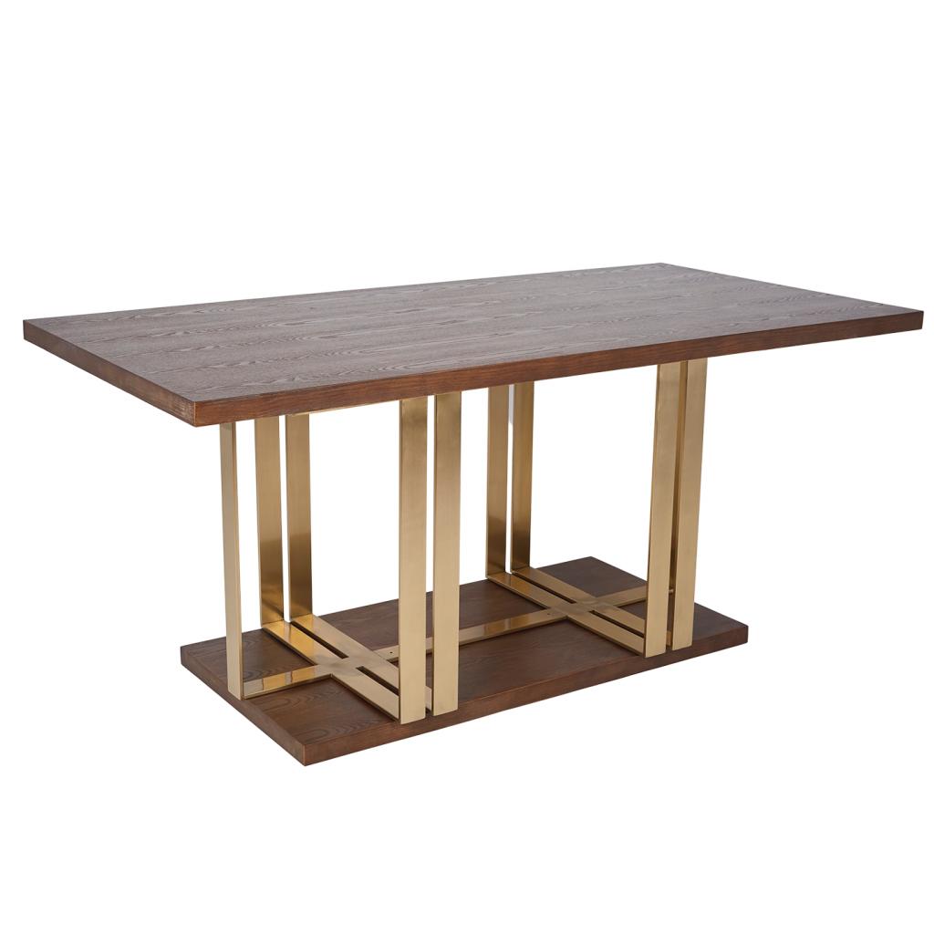 Beautiful Brown Wood & Gold Metal Modern Rectangle Dining Table ROOBBA