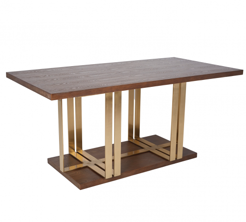 Beautiful Brown Wood & Gold Metal Modern Rectangle Dining Table ROOBBA