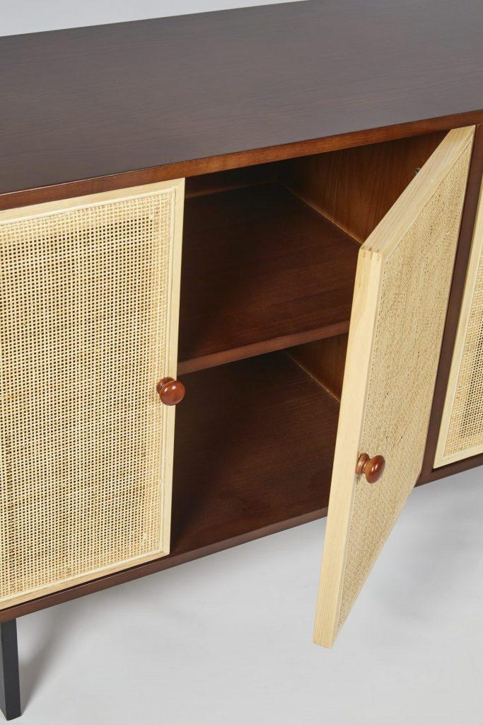Brown Wood & Light Rattan Modern Sideboard Storage ROOBBA