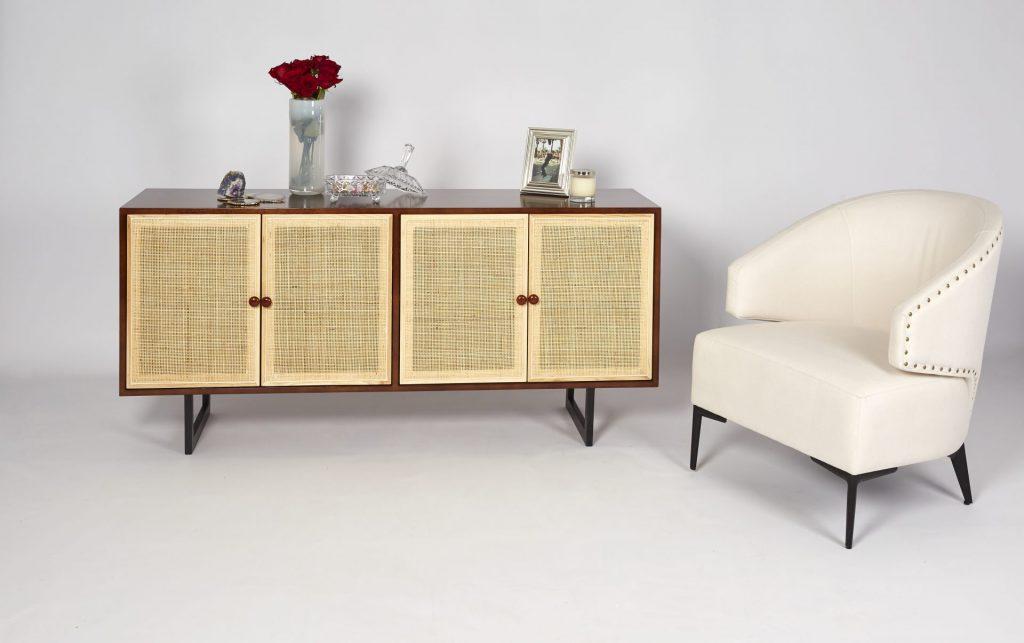 Brown Wood & Light Rattan Modern Sideboard Storage with Cream Fabric Armchair ROOBBA