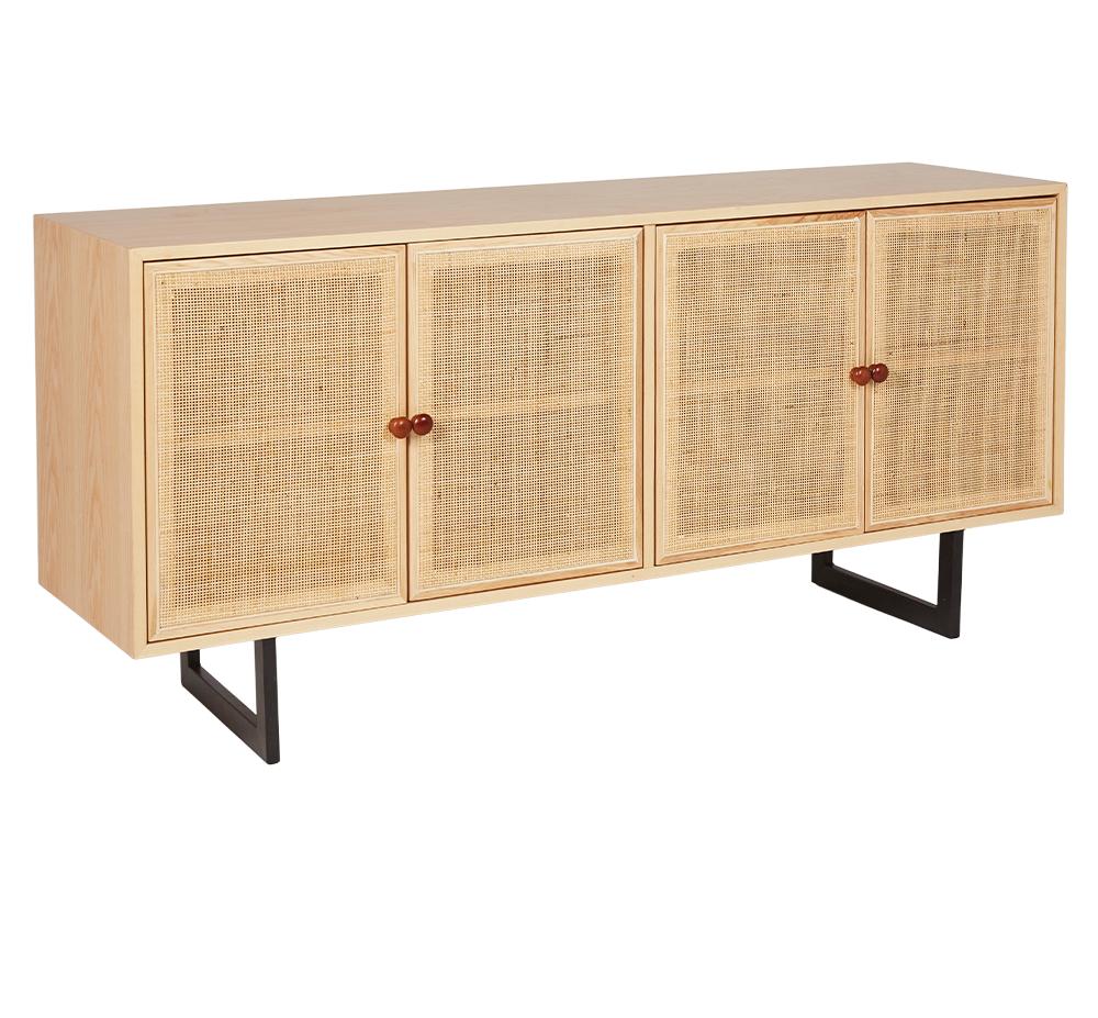 Light Wood & Light Rattan Modern Sideboard Storage ROOBBA