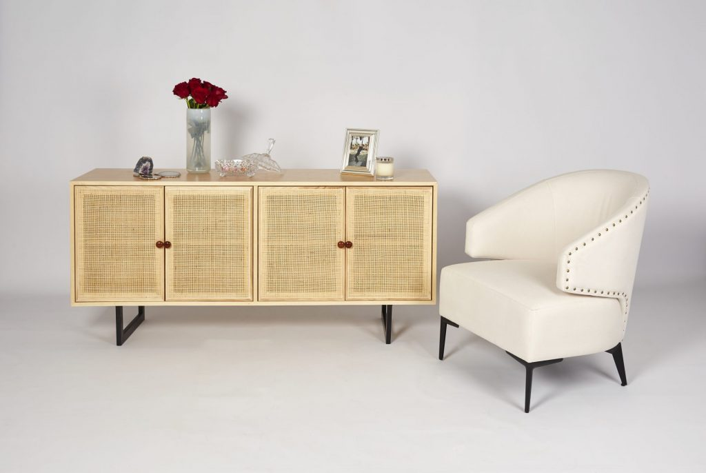 Light Wood & Light Rattan Modern Sideboard Storage with Cream Fabric Armchair ROOBBA