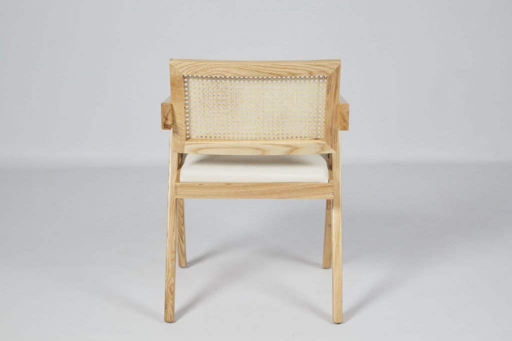 Fashionable Light Wood & Rattan with Cream Seat Dining Chair ROOBBA