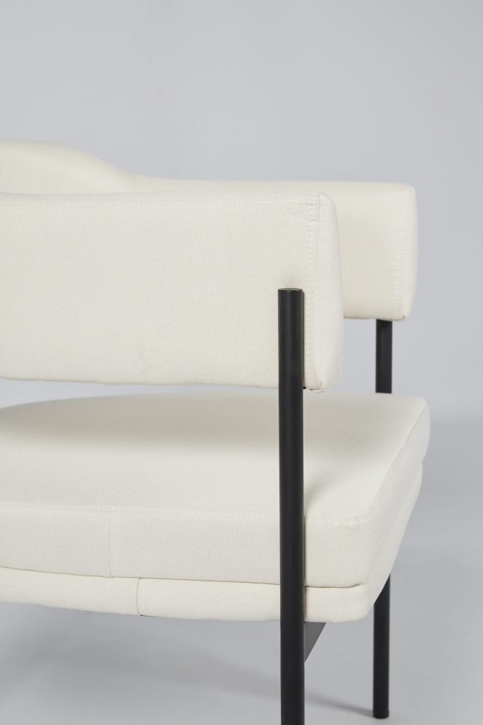 Cream Fabric & Black Metal Comfortable Modern Dining Chair ROOBBA