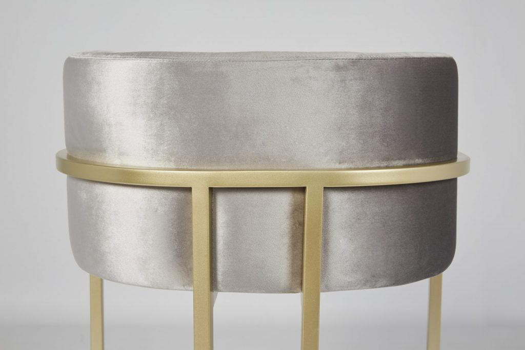 ROOBBA Leo Bar Stool Grey Velvet and Gold