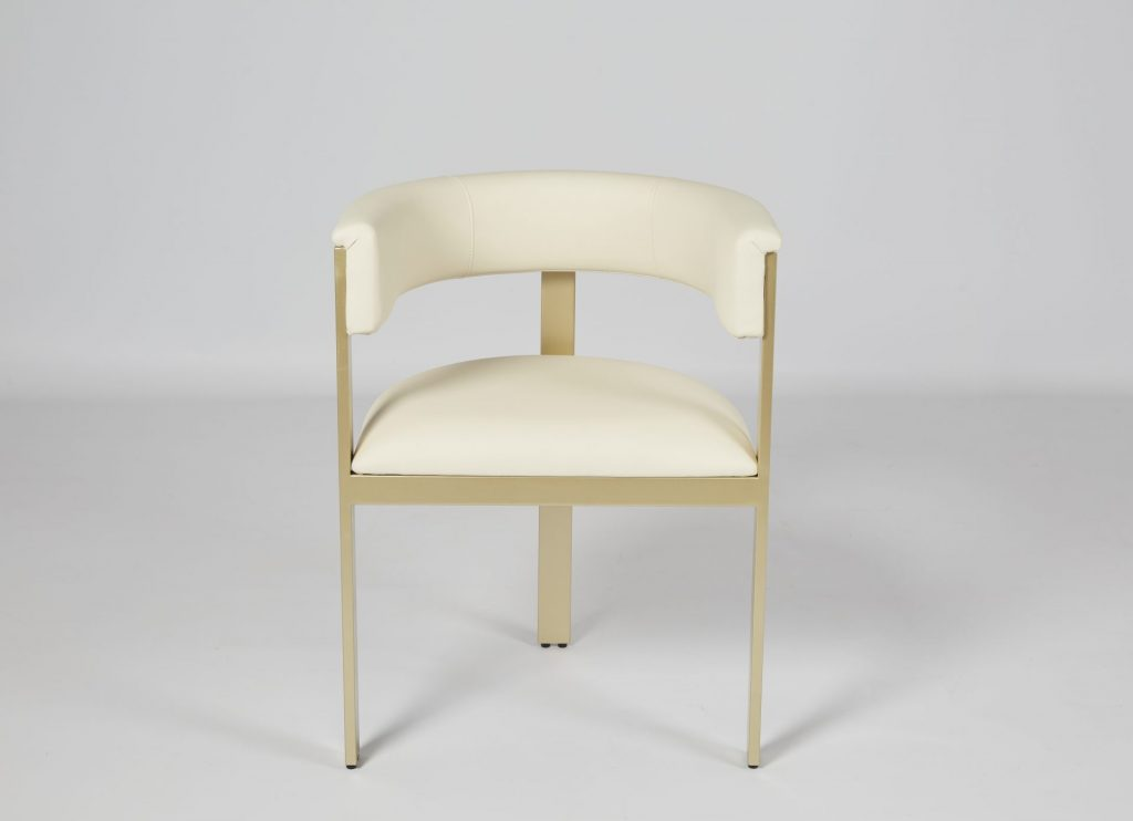 Cream Faux Leather & Gold Metal Stunning Modern Dining Chair ROOBBA