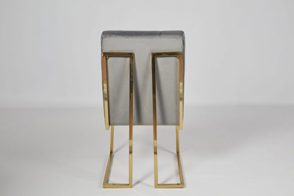 Grey Velvet and Gold Metal Beautiful Modern Dining Chair ROOBBA