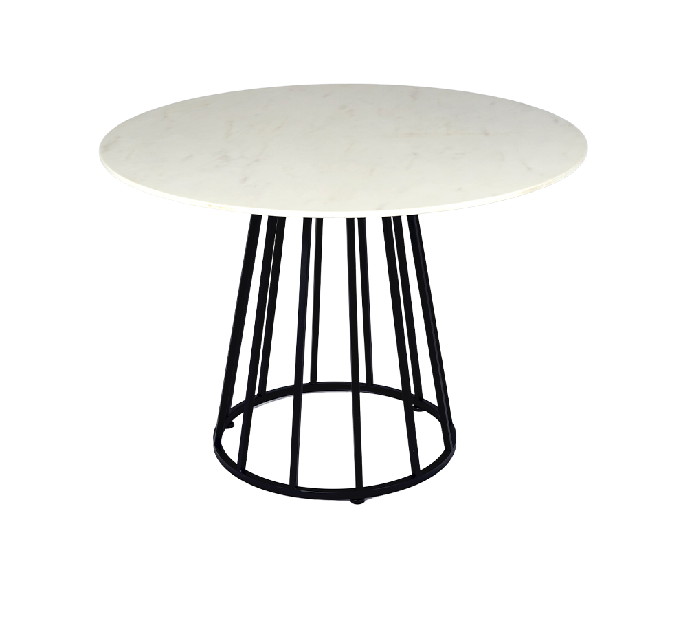 Faux Marble and Black Metal Small Round Modern Dining Table ROOBBA