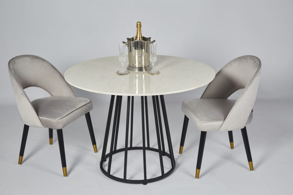 Faux Marble and Black Metal Small Round Modern Dining Table with Colby Grey Velvet Dining Chairs Dining Room Setting ROOBBA