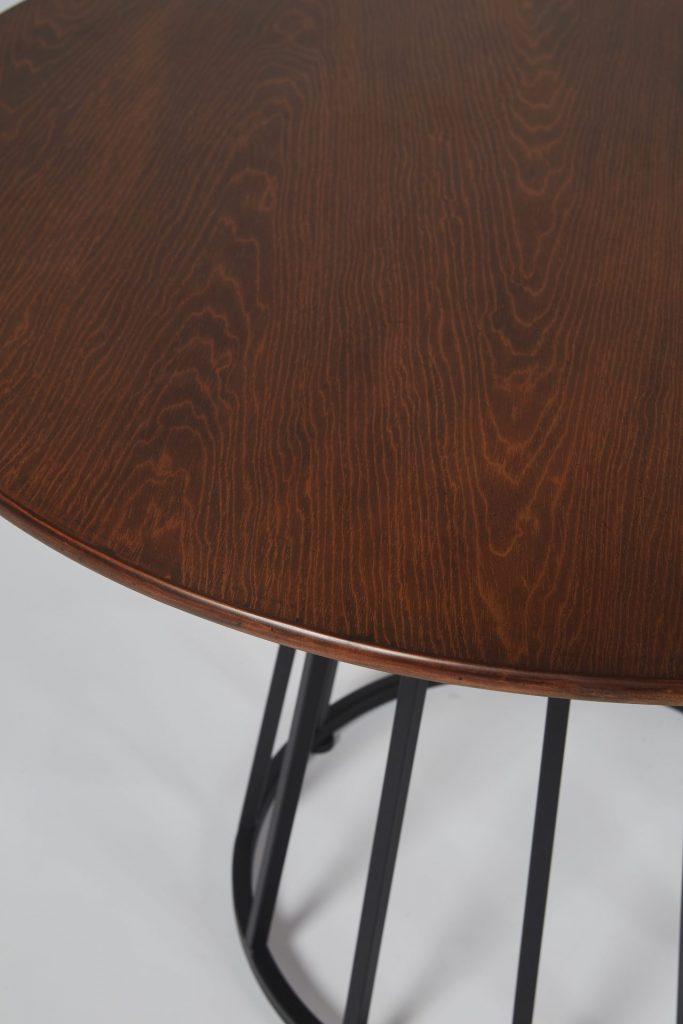 Brown Wood and Black Metal Small Round Modern Dining Table ROOBBA