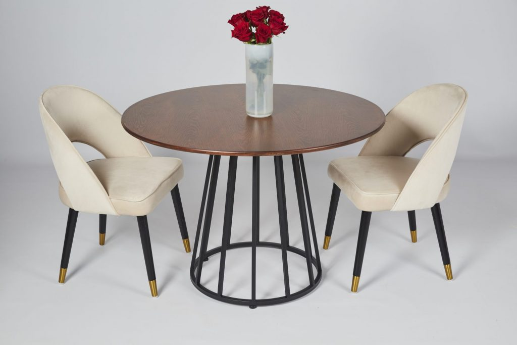 Brown Wood and Black Metal Small Round Modern Dining Table with Colby Beige Velvet Dining Chairs Dining Room Setting ROOBBA