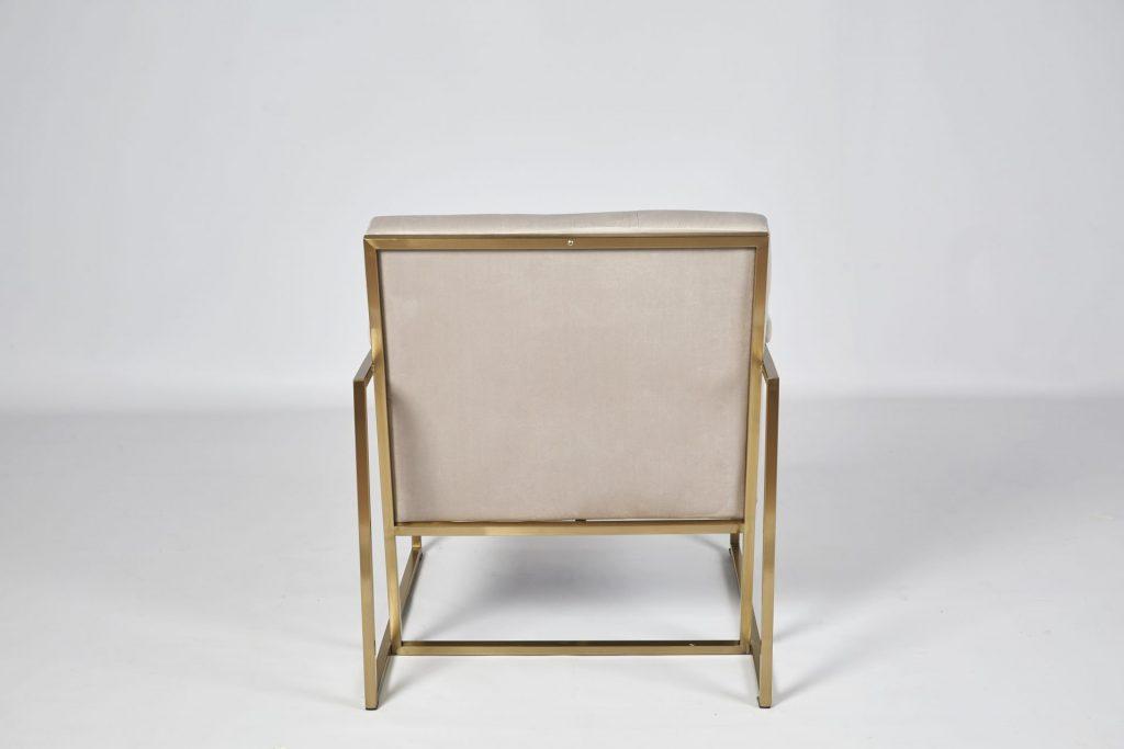 Grey Velvet & Gold Metal Stunning Modern Hotel Style Armchair Occasional Chair ROOBBA