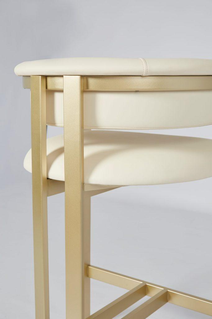 Cream Faux Leather & Gold Metal Stunning Modern Bar Stool ROOBBA