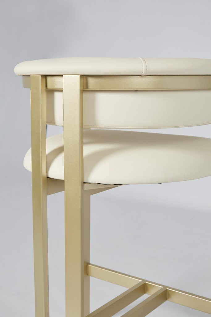 ROOBBA Athena Bar Stool Cream Faux Leather and Matt Gold Metal