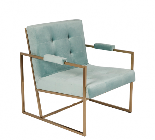 Teal Blue Velvet & Gold Metal Stunning Modern Hotel Style Armchair Occasional Chair ROOBBA