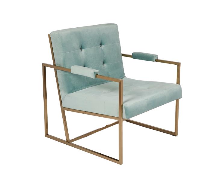 Teal Blue Velvet & Gold Metal Stunning Modern Hotel Style Armchair Occasional Chair ROOBBA
